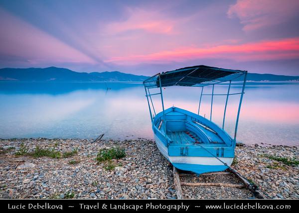 Europe - Macedonia - Galičica National Park - Great Prespa Lake - Liqeni i Prespës - Преспанско Езеро - Prespansko Ezero - UNESCO Biosphere Reserve - Tectonic freshwater lake standing at elevation of 853 m (2,798 ft) - Konjsko - Small village on lake shores with fishing boats