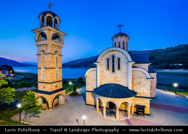 Europe - Macedonia - Mavrovo National Park - Национален парк Маврово - Mavrovo Lake - Мавровско Езеро - Mavrovsko ezero - New St. Nicholas church - Nova Sv. Nikola  Crkva was built on shore of Lake Mavrovo in 1996