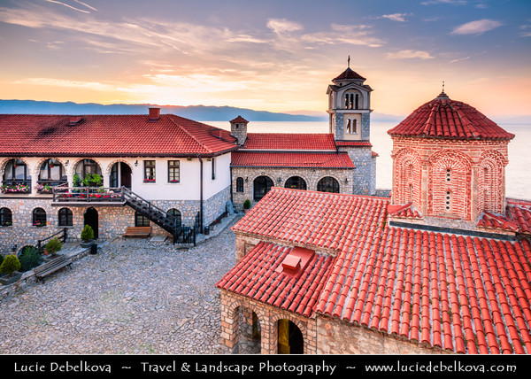 Europe - Macedonia - Monastery of Saint Naum - Манастир Свети Наум - Eastern Orthodox monastery on shores of Lake Ohrid - One of most popular tourist destinations in Macedonia - Sunset