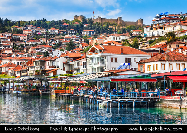 Europe - Macedonia - Ohrid - Historical town on shores of Lake Ohrid (Охридско Езеро, Ohridsko Ezero) - UNESCO Cultural & Natural World Heritage Site - Old Town Skyline viewed from lake