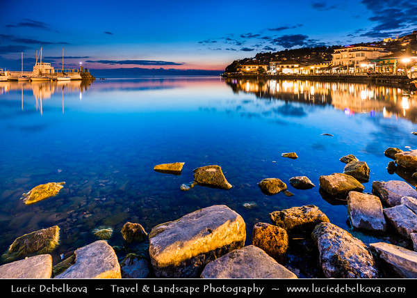 Europe - Macedonia - Ohrid - Historical town on shores of Lake Ohrid (Охридско Езеро, Ohridsko Ezero) - UNESCO Cultural & Natural World Heritage Site - Old Town's Port - Marina with Boats - Dusk - Twilight - Blue Hour - Night