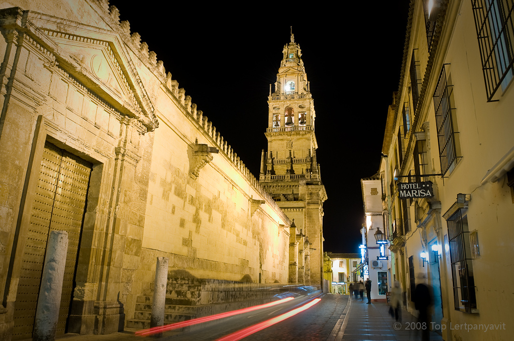 Long night exposure of the Torre del Aminar bell tower of the Mezquita in Cordoba and the streets surrounding it