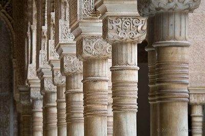 Columns surrounding the Court of Lions in the Alhambra