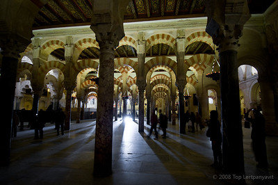 Sunlight streams through the Mezquita in Cordoba