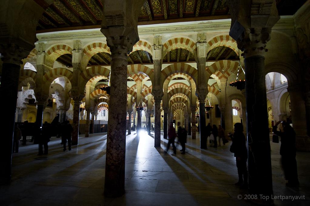 Sunlight streams through the Mezquita in Cordoba