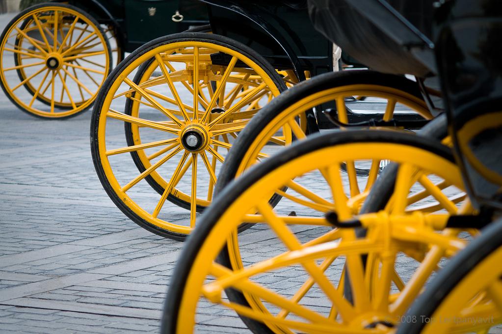 Horse drawn carriages line the Plaza del Triunfo in Sevilla