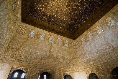 A beautifully carved  wooden ceiling cover the largest room in the Alhambra, the Throne Room or Hall of Ambassadors