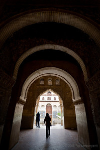Wide angle lens distorts the view of the entry ways and silhouettes in the Alhambra