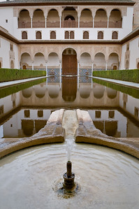 A fountain runs at one end of the Court of Myrtles in the Alhambra