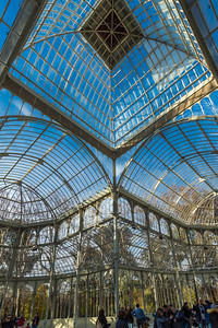 Inside the Palacio de Cristal showing the domed roof