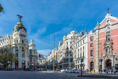 Looking down Calle Gran Via with the Church of San José on the right.