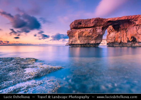 Southern Europe - Malta - Island of Gozo - Għawdex - Isle of Calypso - Small island of the Maltese archipelago in the Mediterranean Sea - Azure Window - Tieqa Żerqa - Natural arch created thousands of years ago when two limestone caves collapsed - Featured in films, such as Clash of the Titans & The Count of Monte Cristo (2002), The Odyssey (1997) & HBO's series Game of Thrones