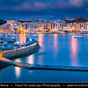 Southern Europe - Malta - Island of Gozo - Għawdex - Isle of Calypso - Small island of the Maltese archipelago in the Mediterranean Sea - Marsaskala - Marsascala - Xwejni Bay - Marsalforn - Fishing village & popular sea resort at Dawn - Twilight - Blue Hour