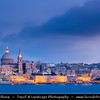 Southern Europe - Malta - Repubblika ta' Malta - Maltese archipelago in the Mediterranean Sea - Valletta - Capital city of Malta - Il-Belt - UNESCO World Heritage Site - Fort St Angelo - Large fortification in Birgu, at the centre of Grand Harbour of Valletta & St Paul's Anglican Pro-Cathedral at Dusk - Twilight - Blue Hour