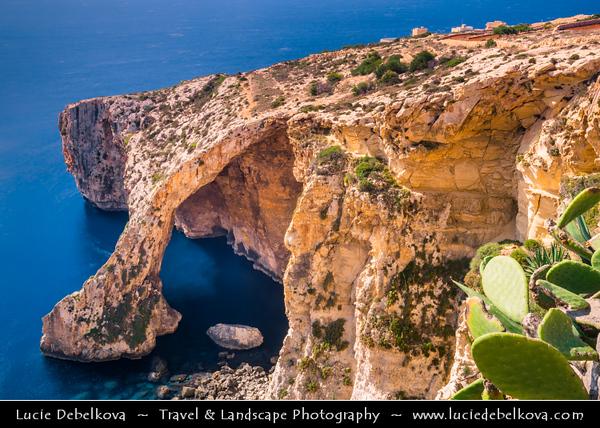 Southern Europe - Malta - Repubblika ta' Malta - Maltese archipelago in the Mediterranean Sea - Blue Grotto - Taht il-Hnejja - Number of sea caverns on the southern coast of Malta, west of Wied iz-Żurrieq harbor