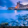 Southern Europe - Malta - Repubblika ta' Malta - Maltese archipelago in the Mediterranean Sea - Valletta - Capital city of Malta - Il-Belt - UNESCO World Heritage Site - Neo-gothic Carmelite Parish Church & Balluta Buildings in Balluta Bay, St Julian's at Breaking Dawn - Twilight - Blue Hour