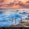 Southern Europe - Malta - Repubblika ta' Malta - Maltese archipelago in the Mediterranean Sea - Valletta - Capital city of Malta - Il-Belt - UNESCO World Heritage Site - Stormy Sunrise on Rocky Shore
