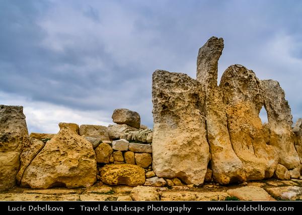 Southern Europe - Malta - Repubblika ta' Malta - Maltese archipelago in the Mediterranean Sea - Megalithic ruins of temple of Hagar Qim - Ħaġar Qim - Standing Worshipping Stones - UNESCO World Heritage Site - Amongst most ancient religious sites on Earth
