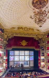 Ceiling and stage of the Teatro alla Scala
