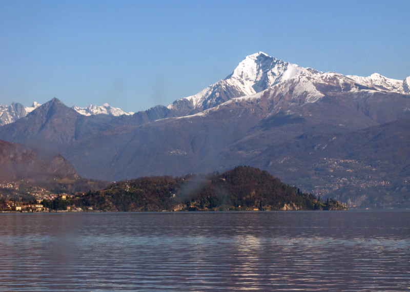 Alps and Lake Como, seen from our boat in transit between Como and Bellagio