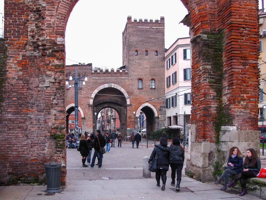 Looking past the Colonne di San Lorenzo to the Porta Ticinese