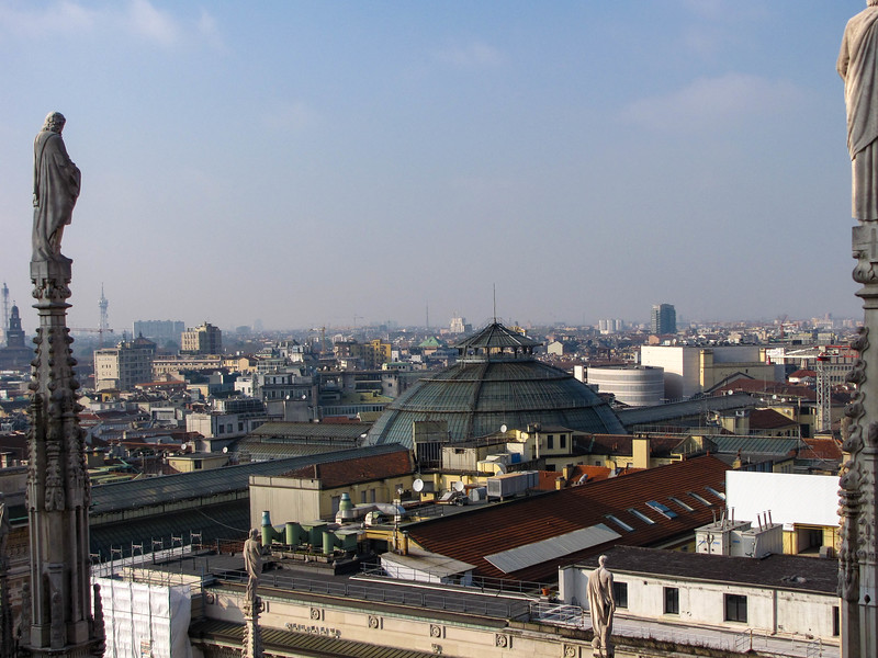 View of the top of the Galleria Vittorio Emanuele II from the rooftop terace of the Duomo di Milano.