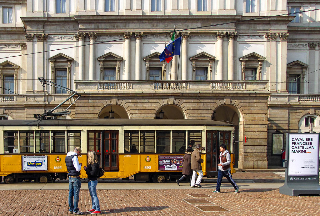 Milan streetcar in front of the Teatro alla Scala
