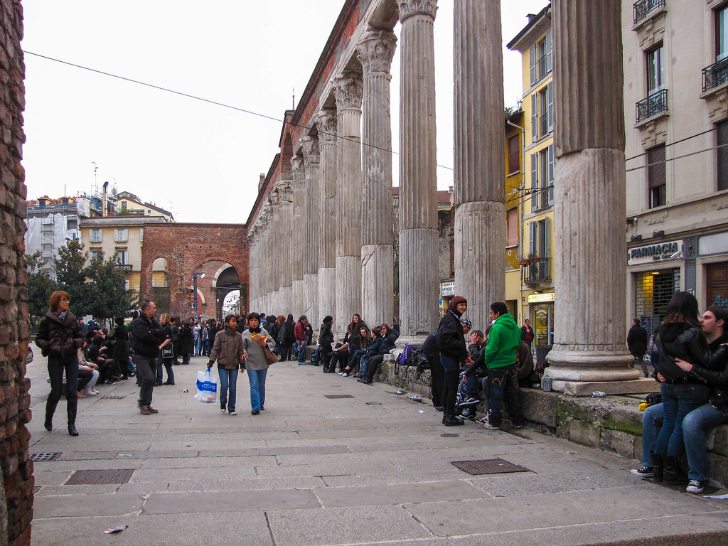 The Colonne di San Lorenzo, perhaps Milan's most famous Roman ruin