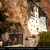Europe - Montenegro - Crna Gora -  Црна Гора - Monastery of Ostrog - Manastir Ostrog - Манастир Острог - Monastery of the Serbian Orthodox Church placed against an almost vertical background, high up in the large rock of Ostroška Greda - The most popular pilgrimage place in Montenegro