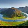 Europe - Montenegro - Crna Gora -  Црна Гора - Skadar Lake National Park - Panorama of the western end of lake Skadar near Rijeka Crnojevica  & its Huge River Bend - Breathtaking high mountains & deep blue rivers