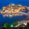 Europe - Montenegro - Crna Gora -  Црна Гора - Sveti Stefan - Aman Sveti Stefan - Свети Стефан - Santo Stefano - Iconic small islet & hotel resort in the central part of Montenegro Adriatic coastline - Dusk - Twilight - Blue Hour - Night