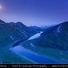 Europe - Montenegro - Crna Gora -  Црна Гора - Skadar Lake National Park - Panorama of the western end of lake Skadar near Rijeka Crnojevica - Breathtaking high mountains & deep blue rivers