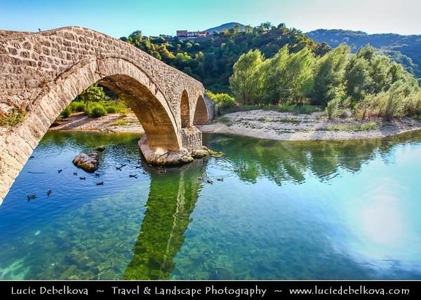 Europe - Montenegro - Crna Gora -  Црна Гора - Skadarsko Jezero - Skadar Lake National Park - Historic stone bridge in Rijeka Crnojevica at Skutari lake