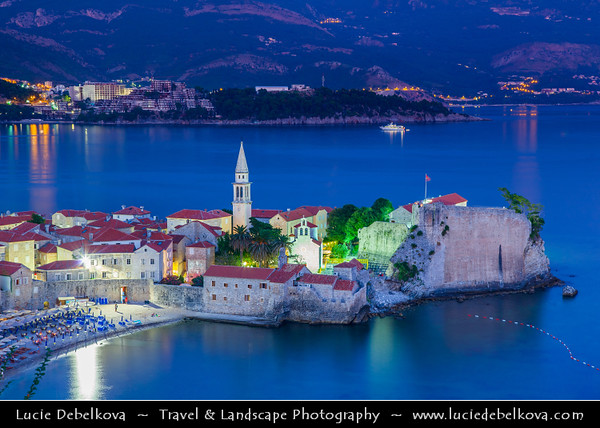 Europe - Montenegro - Crna Gora -  Црна Гора - Budvanska rivijera - Budva - Montenegrin coastal historical town 3,500 years old - One of the oldest settlements on the Adriatic sea coast - Dusk - Twilight - Blue Hour - Night - Full Moon Rising
