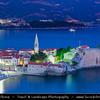 Europe - Montenegro - Crna Gora -  Црна Гора - Budvanska rivijera - Budva - Montenegrin coastal historical town 3,500 years old - One of the oldest settlements on the Adriatic sea coast - Dusk - Twilight - Blue Hour - Night - Full Moon Rising
