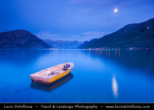 Europe - Montenegro - Crna Gora -  Црна Гора - Boka Kotorska - Bay of Kotor - UNESCO World Heritage site - The most southern fjord of Europe - Natural harbour on the Adriatic coast - Dusk - Twilight - Blue Hour - Night - Full Moon Rising