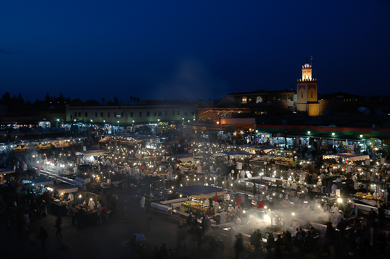 Marrakesh market comes alive every evening.