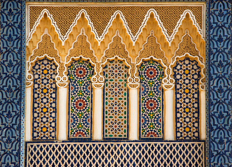 Ornate architectural detail above the entrance to the Royal Palace, Fez, Morocco