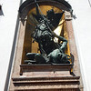 St. Michael and Lucifer, onover the entrance at St. Michael's Cathedral.