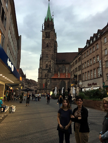 Marissa and Robin, with St. Lorenz Kirke in background