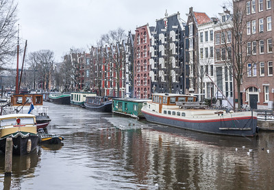 House Boats with Ice, Amsterdam, Holland, 2010