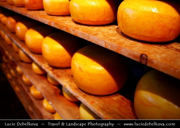 Netherlands - Traditional Dutch Cheese - Dairy products include prominent cheeses such as Gouda, Leyden (spiced cheese with caramin, cumin or cloves), Edam (traditionally in small spheres) as well as Leerdammer and Beemster <br /> <br /> Camera Model: Canon EOS 5D Mark II; Lens: 28.00 - 300.00 mm; Focal length: 28.00 mm; Aperture: 5.6; Exposure time: 1/80 s; ISO: 3200