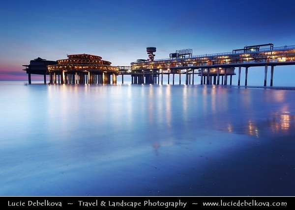 Netherlands - Scheveningen - Modern seaside resort on Shores of the North Sea with a long sandy beach, esplanade, pier & lighthouse - Twilight - Dusk - Blue Hour <br /> <br /> Camera Model: Canon EOS 5D Mark II; Lens: 17.00 - 40.00 mm; Focal length: 22.00 mm; Aperture: 10; Exposure time: 32.0 s; ISO: 100