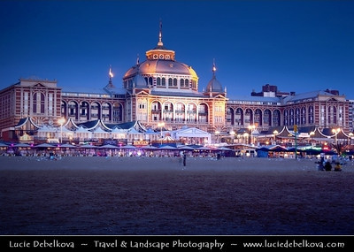 Netherlands - Scheveningen - Modern seaside resort on Shores of the North Sea with a long sandy beach, esplanade, pier & lighthouse - Twilight - Dusk - Blue Hour   Camera Model: Canon EOS 5D Mark II; Lens: 28.00 - 300.00 mm; Focal length: 84.00 mm; Aperture: 16; Exposure time: 32.0 s; ISO: 50