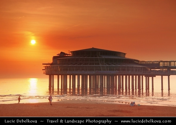 Netherlands - Scheveningen - Modern seaside resort on Shores of the North Sea with a long sandy beach, esplanade, pier & lighthouse - Sunset time <br /> <br /> Camera Model: Canon EOS 5D Mark II; Lens: 28.00 - 300.00 mm; Focal length: 92.00 mm; Aperture: 7.1; Exposure time: 1/160 s; ISO: 320