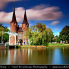 Europe - Netherlands - Nederland - South Holland - Zuid-Holland Province - Delft - Historic town with canals famous for painter Vermeer & Delft Blue pottery (Delftware) - Eastern Gate - Oostport - Built around the 1400 AD with the spires added later