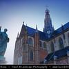 Netherlands - Haarlem - Historical center of the tulip bulb-growing district for centuries - Bloemenstad - Flower city - Sint-Bavokerk Church on the Grote Markt <br /> <br /> Camera Model: Canon EOS 5D Mark II; Lens: 17.00 - 40.00 mm; Focal length: 34.00 mm; Aperture: 5.0; Exposure time: 1/60 s; ISO: 100