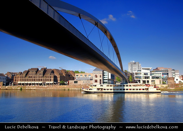 Europe - Netherlands - Nederland - Limburg Province - Maastricht - Mestreech - Maestricht - City of history located on both sides of river Meuse - Maas - Footbridge Hoge Brug - New link for pedestrians & bikers between the new district Céramique and the old city