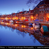 Netherlands - Haarlem - Historical center of the tulip bulb-growing district for centuries - Bloemenstad - Flower city - Blue Hour - Twilight - Dawn at Canals of river Spaarne <br /> <br /> Camera Model: Canon EOS 5D Mark II; Lens: 17.00 - 40.00 mm; Focal length: 36.00 mm; Aperture: 14; Exposure time: 32.0 s; ISO: 100