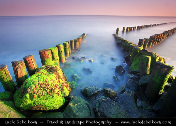 Europe - Netherlands - Nederland - Zeeland Province - Sea-land - Zealand - Westkapelle - Small village at the westernmost point of the island of Walcheren - Sunset on Shores of North Sea at the westernmost province located in the south-west of the country